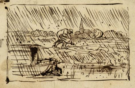 Charles F. Daubigny, La Grèle    Pen and ink on papier calque 4 11/16 x 7 inches