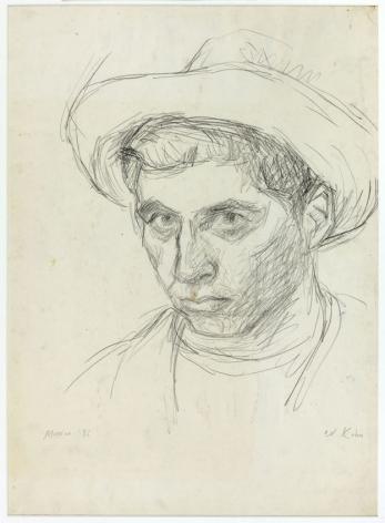 Wolf Kahn, Self Portrait, Mexico, 1956    Pastel 20 x 14 1/2 inches