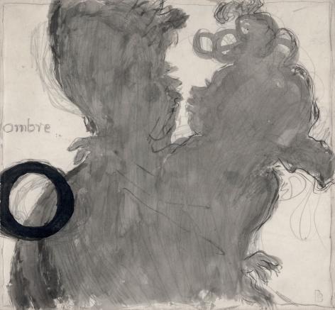 Pierre Bonnard, O, Ombre (Dessin pour un Alphabet sentimental), 1893, O, Ombre (drawing for Un Alphabet Sentimental), 1893  Ink and pencil on paper 7 1/4 x 7 7/8 inches