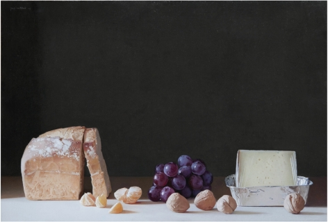 Josep Santilari Perarnau    Bread, Grapes and Walnuts, 2008    Oil on canvas 16 1/8 × 23 5/8 inches
