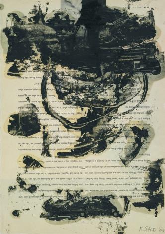 Kikuo Saito, Ash Garden Series #44, 2008    Oil and wax on printed paper 13 x 10