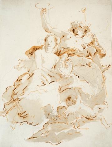 GIOVANNI BATTISTA TIEPOLO Italian, 1696-1770 . Bacchus and Ariadne,     Pen, brown ink, wash, traces of black chalk 10 1/8 x 7 5/8 in