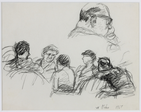 Wolf Kahn, In the Jury Room, 1967    Pencil 8 1/2 x 11 inches
