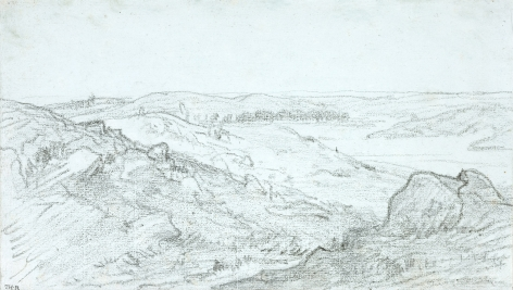 Théodore Rousseau  Les Gorges d'Apremont, c. 1850  Pencil on blue paper 6 5/8 x 11 3/8 inches