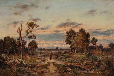 Theodore Rousseau (French, 1812-1867) Path at the Edge of the Forest, c. 1850-55 (Route au lisière de la forêt) Oil on panel 10 5/8 × 16 1/8 inches