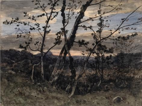 Henri Joseph Harpignies (1819-1916) Arbres dan us paysage vallone a la tombee de la nuit, 1866   Watercolor heightened with gum arabic 9 3/4 x 13 1/4 inches