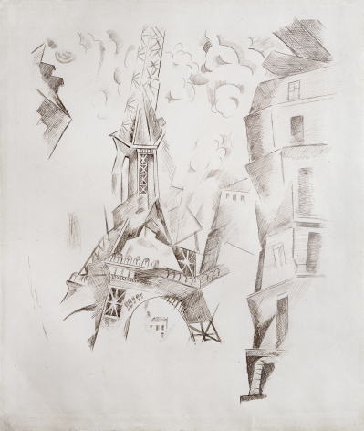 Robert Delaunay, La Tour Eiffel, c. 1911, Pen and ink with pencil on paper, 18 x 14 1/2 inches
