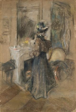 Edouart Vuillard, La Femme a la Violette, c. 1907-08, Pastel on board, 44 x 29 1/8 inches.