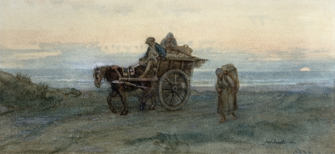 Josef Israels The Seaweed Gatherers Return, 1864 Watercolor on paper ​7 3/8 x 16 inches