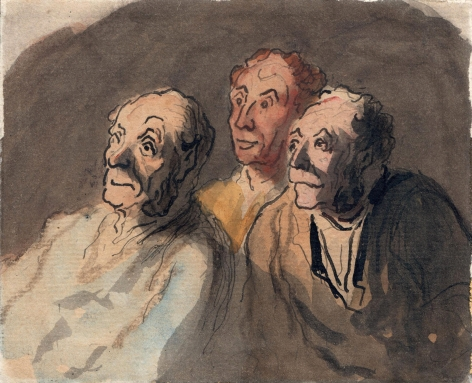 Honore Daumier, Three Attentive Spectators  Pen and watercolor on paper 3 3/4 x 4 7/8 inches