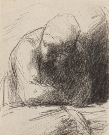 Jean-Francois Millet, Peasant Woman (the artist's wife) Leaning on a Sheaf of Wheat, c. 1850-53 Crayon on paper 4 1/8 x 3 3/8 inches