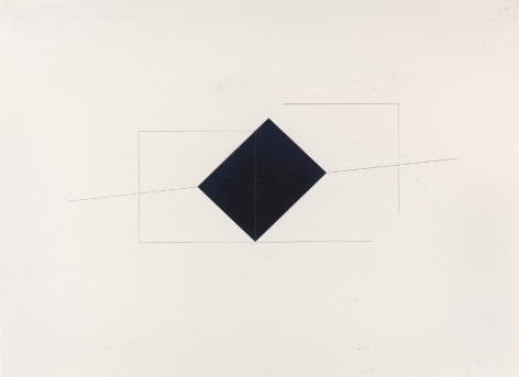 Dorothea Rockburne, Indication of Installation, Whitney Piece, 1973  38 x 50 inches  Carbon paper and carbon lines on paper