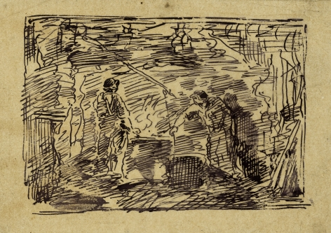 Charles F. Daubigny, La Forge    Pen and ink on papier calque 5 x 6 13/16 inches