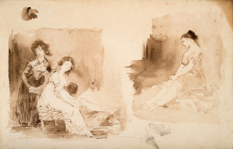 Eugene delacroix Figures after Goya's Les Caprices    Pen and brown ink with wash on paper 8 7/8 x 13 1/2 inches