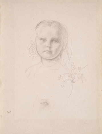 """BALTHUS French, 1908-2001 . Study for """"Portrait of Mme. Matossian and her daughter Dalité"""", 1944     Graphite on paper 10 7/8 x 8 1/4 in. (27.6 x 21 cm"""