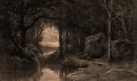 Adolphe Appian (1818-1898) Three Fishermen along the banks of a River at the Edge of a Forest, 1868   Charcoal with stumping and scratching out and touches of white chalk on beige paper 23 3/8 x 39 1/8 inches