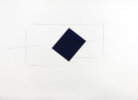 Dorothea Rockburne, Indication of Installation, Nesting, 1973  38 x 50 inches  Carbon paper and carbon lines on paper