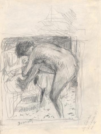Pierre Bonnard Nude at the Bath, c. 1924 Verso: Landscape  Pencil on paper 9 ¾ x 6 7⁄8 inches