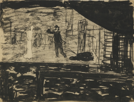 Edouard Vuillard, Répétition sur la scène, 1890-1891, Ink wash and graphite on paper 9 3/8 x 12 3/8 inches