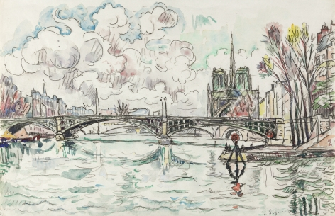 Paul Signac The Seine at Pont de Sully (with Notre Dame Cathedral at the right), c. 1920-30 Black chalk & watercolor on laid paper marked with heraldic shield 11 3/8 x 17 1/4 inches
