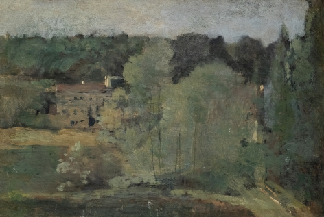 Jean-Baptiste-Camille Corot Ville d'Avray –View of the Cabassud Houses on Corot's Property, c. 1855  Oil on parqueted wood panel 10 5/8 x 15 ¼ inches