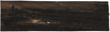 Victor Hugo  Marine   Pen and brown ink with wash on paper 1 5/8 x 6 1/4 inches
