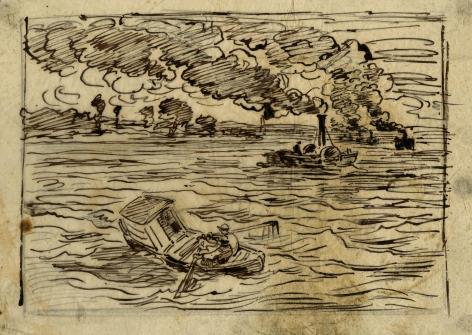 Charles F. Daubigny, Les bateaux à vapeur (Gare aux vapeurs)    Pen and ink on papier calque 5 1/8 x 7 5/16 inches