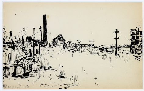 Wolf Kahn, In the Distant Bronx, 1952    Pen and ink 5 1/2 x 8 inches