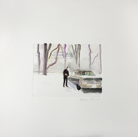 Wendy Mark, Snow/Cadillac, 2011  Monotype 4 5/8 × 6 1/8 inches