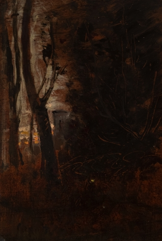 Jean-Baptiste-Camille Corot French, 1796-1875 . Evening - A Sketch, c. 1872-3    Oil on panel 8 3/8 x 5 5/8 in