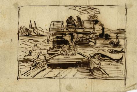 Charles F. Daubigny, L'avant du Botin, avec une grenouille, précédé d'un autre Bateau    Pen and ink on paper calque 4 9/16 x 6 3/4 inches