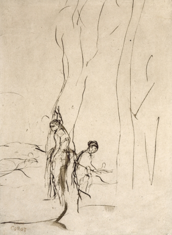 """Study of Two Figures for """"La Toilette,"""" c. 1858, Pen and brown ink, brown wash on paper"""
