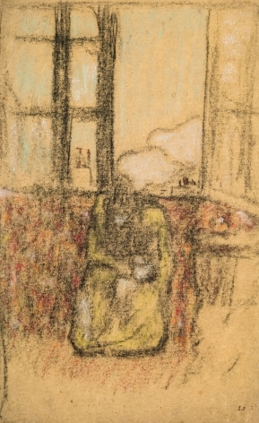 Edouard Vuillard, Marie in front of the window, 1890, Charcoal and pastel on paper, 14 1/2 x 9 1/4 inches