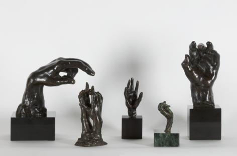 August Rodin, 5 bronze sculptures of hands