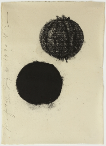 Donald Sultan Two Fruites July 30, 1990 Charcoal on paper 11 1/2 x 8 inches