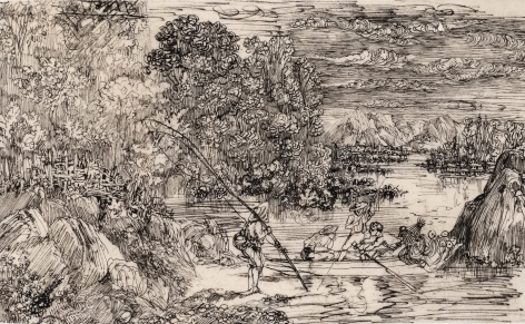 Rodolphe Bresdin (1822-1885) Les pêcheur à la ligne, ca. 1865   Pen and china ink on tracing paper 3 1/8 x 5 inches