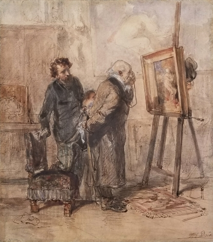 Clement-Auguste Andrieux, The Connoisseur, Watercolor heightened with white over pencil, 8 1/4 x 7 1/4 in. (21 x 18.7 cm), Signed lower right
