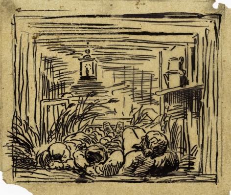 Charles F. Daubigny, Coucher à bord du bottin (La nuit en bateau)    Pen and ink on papier calque 4 13/16 x 5 5/8 inches