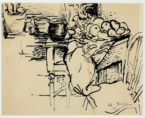 Wolf Kahn, Matissean Still Life, 1952    Pen and ink 8 3/4 x 11 1/4 inches