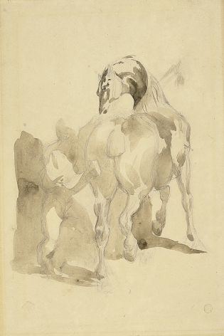 Théodore Géricault, A Stable Hand Grooming a Horse, c. 1814    Pencil, light brown wash on paper 11 3/8 x 8 5/8 inches