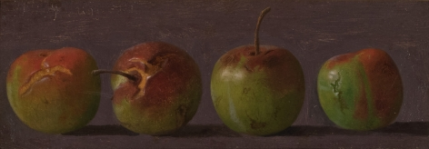 Helen Searle American, 1834-1884 . Crabapples, c. 1877    Oil on paper on card 2 3/4 x 8 in.