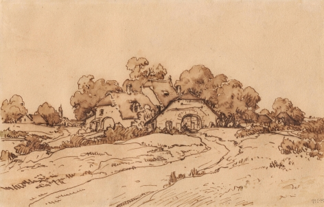 Houses Under the Trees, c. 1860-62     Pen and brown ink on paper 12 1/4 x 8 1/4 inches