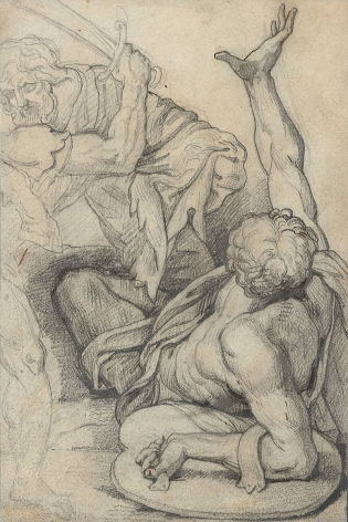"""Fallen Warrior: Study after """"The Battle of Constantine"""" by Giulio Romano, c. 1815-1816    Pencil and brown ink on paper 7 1/4 x 4 7/8 inches"""