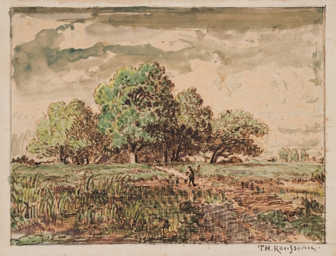 Theodore Rousseau  Thatched cottage under the trees, c. 1842 Pen and ink with watercolor on paper 5 1/8 x 7 inches