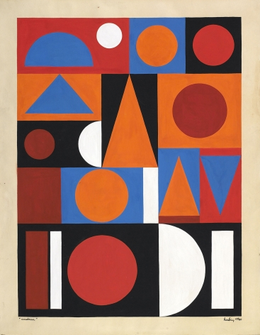 Auguste Herbin, Cendrier, 1944    gouache on paper 15 3/4 x 11 3/4 inches