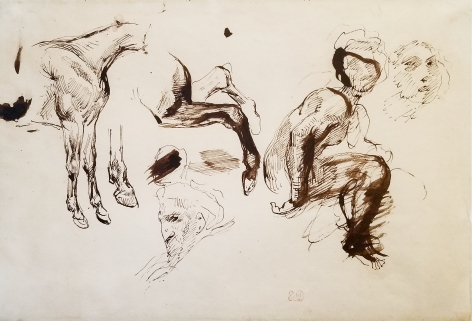 Eugene Delacroix, Study of Figures and Horses, c. 1820s, Ink on paper, 7 1/2 x 11 1/2 inches, Stamped lower center