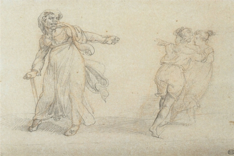 Théodore Géricault, Scene from Italian Street Life, c. 1816-17    Pencil over red chalk on paper 6 3/8 x 8 1/4 inches