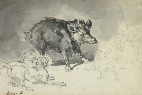 Boar Attacked by Dogs, c. 1821-23    Graphite and wash on paper 7 5/8 x 10 inches