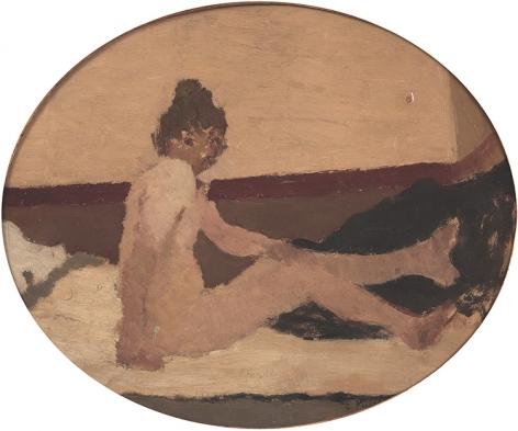 Edouard Vuillard  Nu au divan assis, c. 1891  Oil on card laid on canvas 9¼ × 11¼ inches