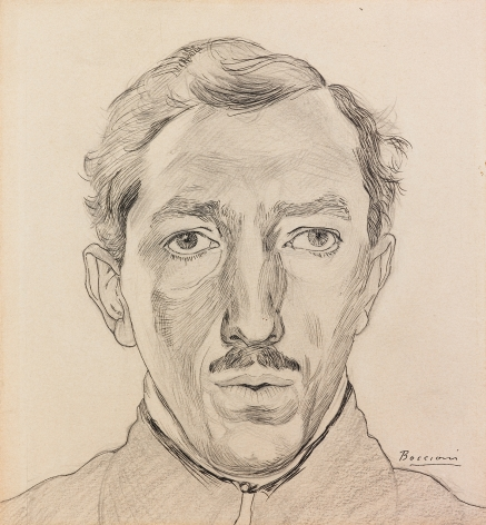 Umberto Boccioni, Self-Portrait (Autorittrato), c. 1908 Pen and ink and pencil on card 8 x 7 3/8 inches, Signed lower right